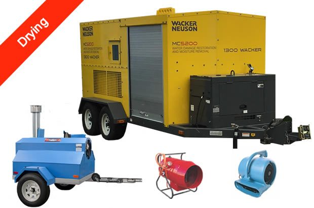 Drying damp areas with our powerful onsite drying trailers